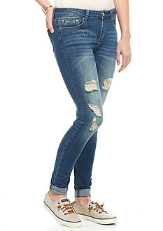 Indigo Rein Desctructed Dark Wash Skinny Jeans