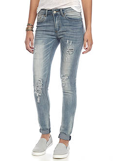 Indigo Rein Avery Destructed Cuff Skinny Jeans