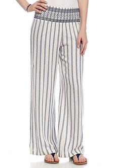 Indigo Rein Smocked Waist Linen Pants