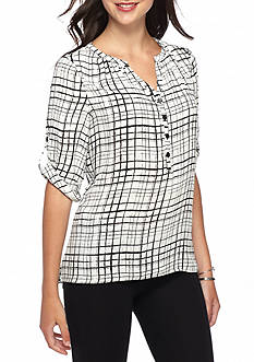 Spense High-Low Grid Blouse