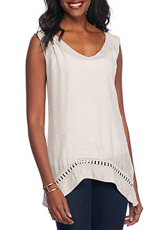 Melissa Paige V-Neck Crochet Sharkbite Top