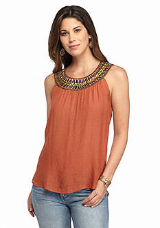Spense Scoop Neck Embroidered Tank