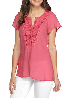 Melissa Paige Embroidered Flutter Top