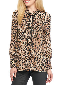 Spense Leopard Ruffle Neck Blouse