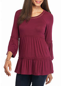 Spense Bell Sleeve Knit Peasant Top