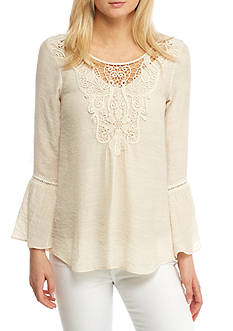 Spense Flounce Sleeve Pleated Top