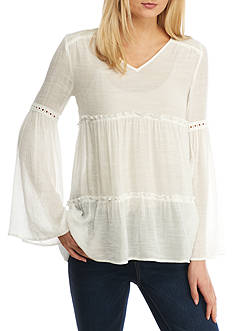 Spense Tiered Bell Sleeve Top