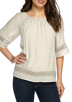 Melissa Paige Border Trim Peasant Top