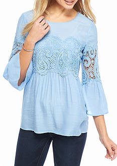 Spense Lace Applique Peasant Top