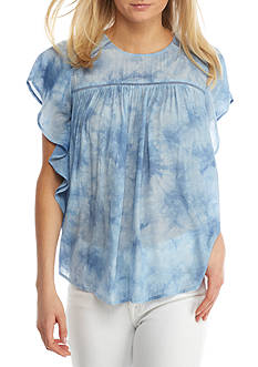 Spense Ruffle Sleeve Scoop Neck Top