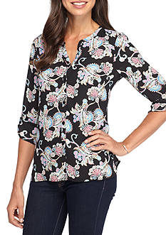 Spense Paisley Roll Tab Blouse