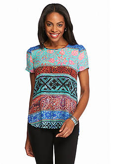 Spense Colorful Print High Low Blouse