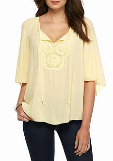 Spense Crochet Lace Tie Front Blouse