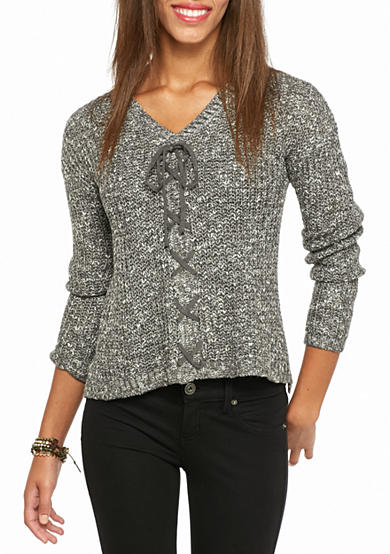 Oh M G! Lace Up Front Marled Sweater