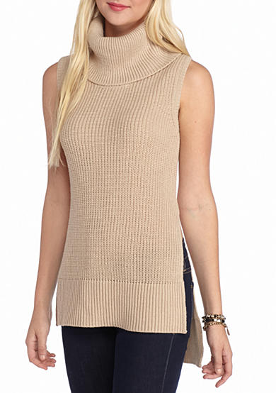 Oh M G! Cowl Neck Sleeveless Sweater Tunic