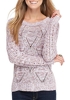 Oh M G! Marled Pointelle Pullover Sweater