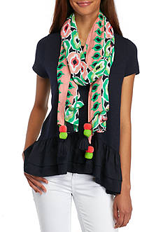 Crown & Ivy™ Double Pom Rectangle Scarf