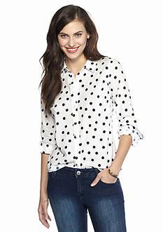 crown & ivy™ Dot Print Shirt