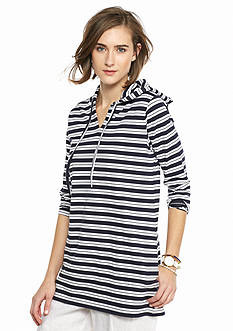 crown & ivy™ beach Striped Hoodie Tunic Top