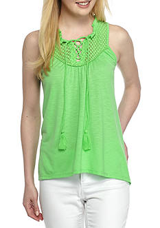 Crown & Ivy™ Crochet Lace Up Top