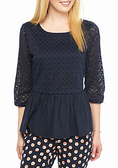 crown & ivy™ Jersey Lace Peplum Top