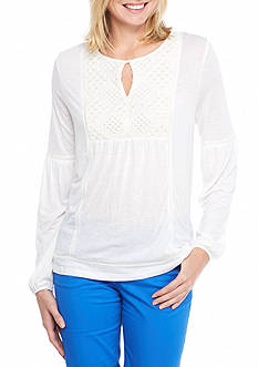 Crown & Ivy™ Eyelet Yoke Top