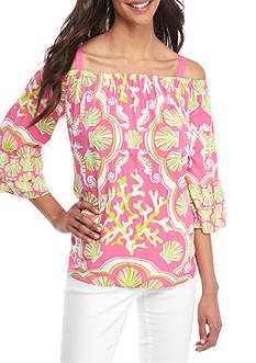 Crown & Ivy™ Printed Cold Shoulder Top