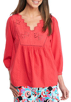 Crown & Ivy™ Three Quarter Sleeve Bib Top