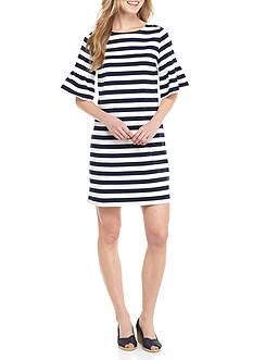Crown & Ivy™ Stripe Flounce Sleeve Knit Dress