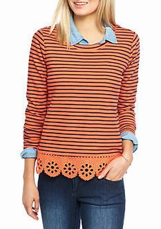 crown & ivy™ Lace Bottom Sweatshirt