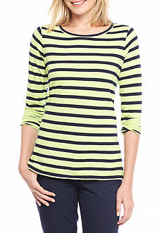 Crown & Ivy™ Lace Insert Striped Sweatshirt