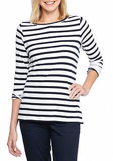 crown & ivy™ Lace Insert Striped Sweatshirt