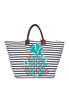 Crown & Ivy™ Embroidered Pineapple Tote Bag