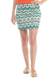 Crown & Ivy™ Printed Skort with Side Scallop Detail