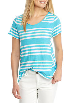 Crown & Ivy™ Short Sleeve Stripe Swing Tee