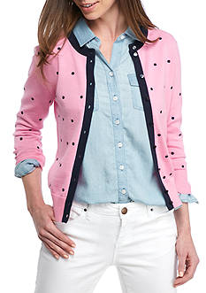 Crown & Ivy™ Embroidered Dot Cardigan