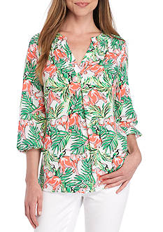 Crown & Ivy™ Three Quarter Sleeve Print Peasant Top