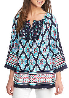 Crown & Ivy™ Print Peasant Top