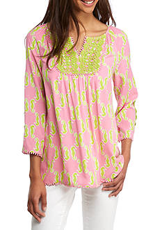 Crown & Ivy™ Print Woven Peasant Top