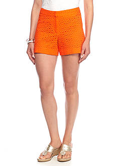 crown & ivy™ Eyelet Button Front Short