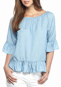 crown & ivy™ Chambray Peasant Top