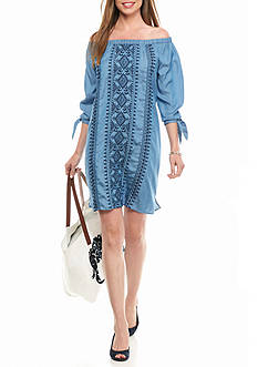 crown & ivy™ Chambray Embroidered Dress