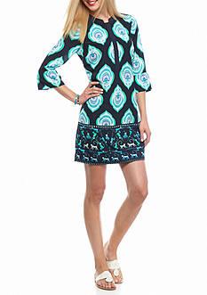 crown & ivy™ Medallion Bell Sleeve Dress