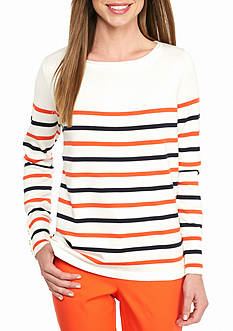 crown & ivy™ Stripe Zip Back Sweater