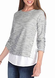 crown & ivy™ Lace Trim Layered Sweatshirt