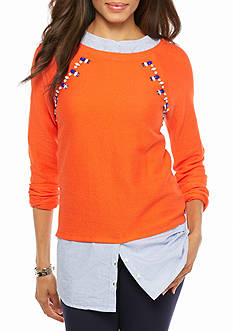 crown & ivy™ Jewel Layered Sweatshirt