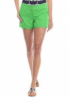 crown & ivy™ Solid Scallop Shorts