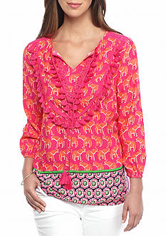 crown & ivy™ Tassel Bib Printed Peasant Top
