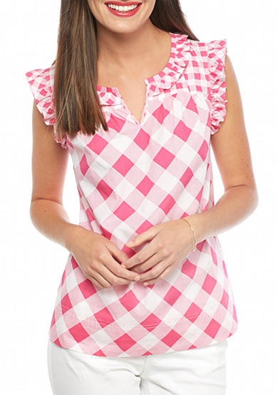 crown & ivy™ Checker Ruffle Top