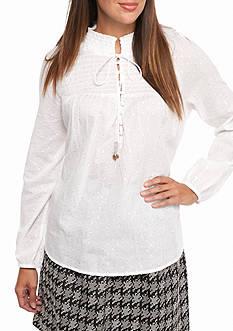 crown & ivy™ High Neck Lurex® Dot Shirt